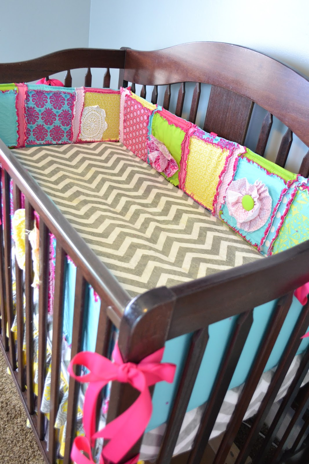 Ruffle Flower Crib Quilt and Bumpers Set in Hot Pink, Turquoise, Lime Green and Orange