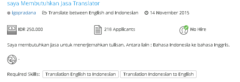 Menawarkan jasa penerjemah