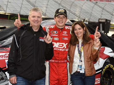 Harrison Burton (middle), Jeff Burton (left) and Kim Burton.