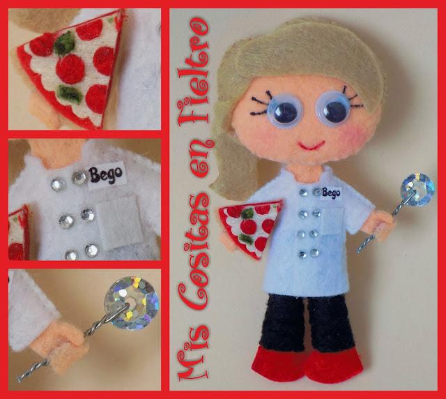 broche de fieltro, broche en fieltro, fieltro broche, broche, fieltro, felt, regalo, pin, Monigota, muñeca de fieltro, felt doll, pizza, pizzera, pizzero