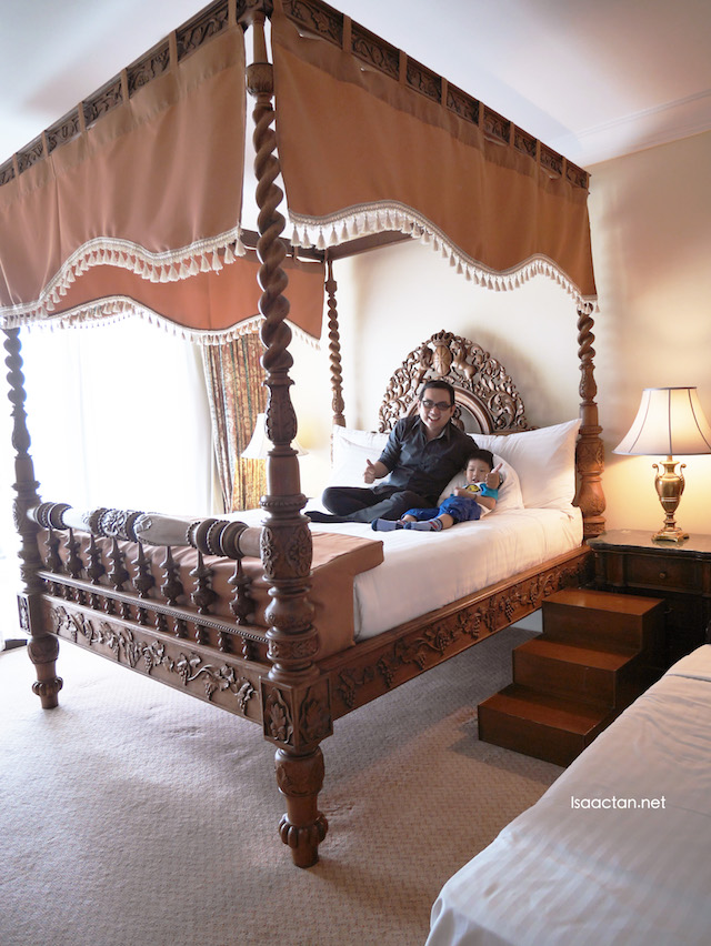 Colonial styled bed, where one has to walk 3 steps just to jump into bed with loved ones