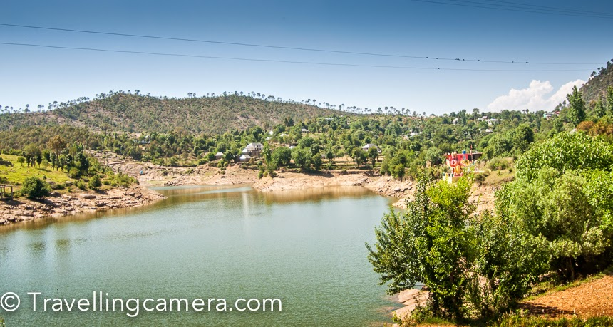 Here is the first lake we hit after we started driving from Rewalsar lake (above photograph is from last trip which we did in summers). This photograph is clicked from road-side, so that's the view you get while driving through this lake. One can take a pause here and go close to the lake.