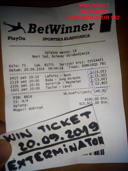 WIN TICKET FROM YESTERDAY FRIDAY/ PETAK 20.09.2019
