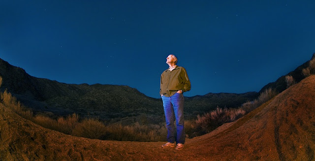 Sandia National Laboratories researcher Richard Spalding, recently deceased, examines the sky through which meteors travel. (Photo by Randy Montoya)