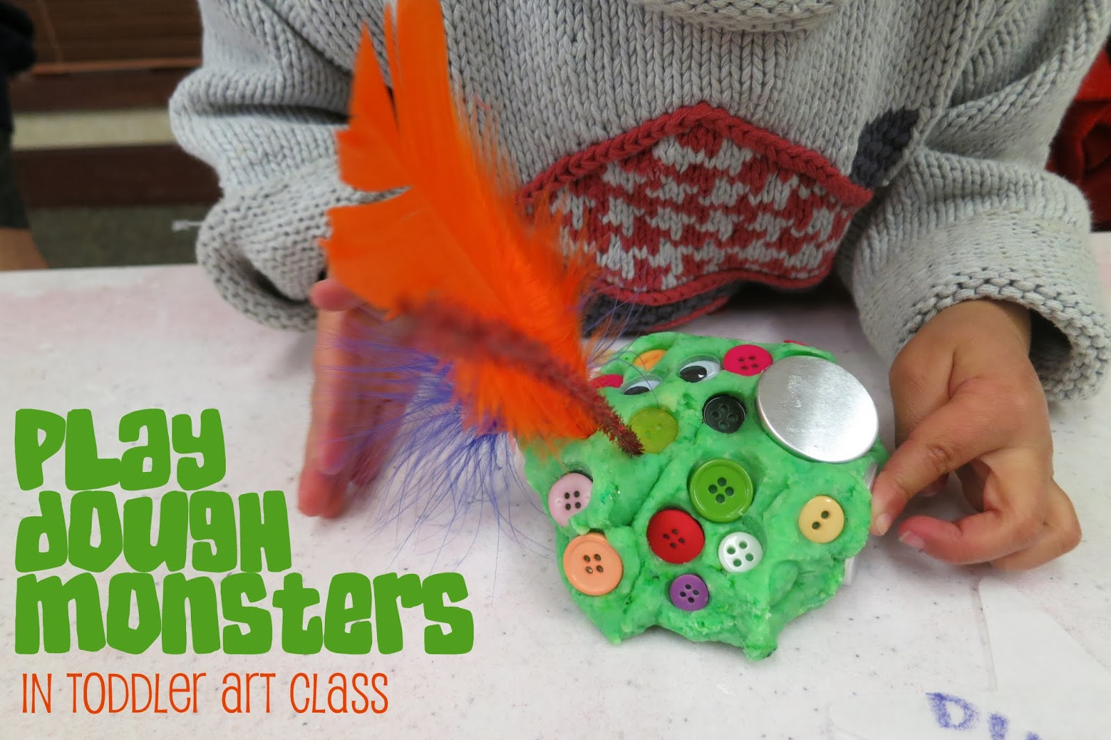 http://librarymakers.blogspot.com/2014/02/toddler-art-class-playdough-monsters.html