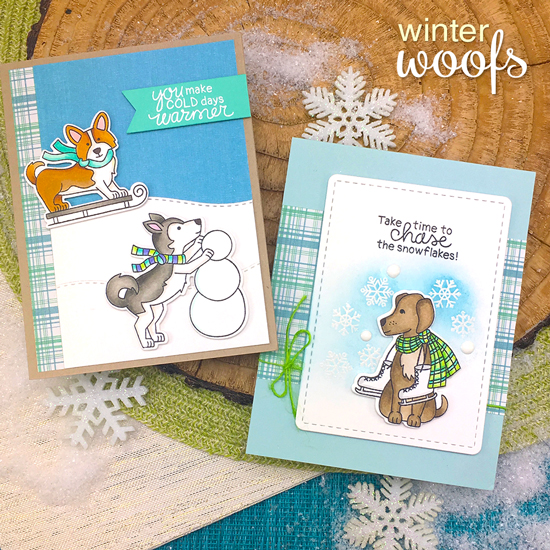 Winter Dog Cards by Jennifer Jackson | Winter Woofs Dog Stamp set and Frames & Flags Die Set by Newton's Nook Designs #newtonsnook