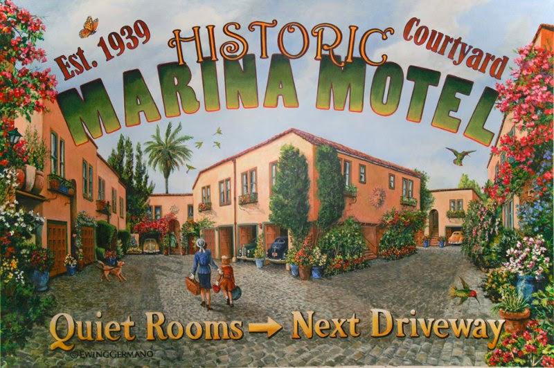 Marina Motel San Francisco. Mural anunciador