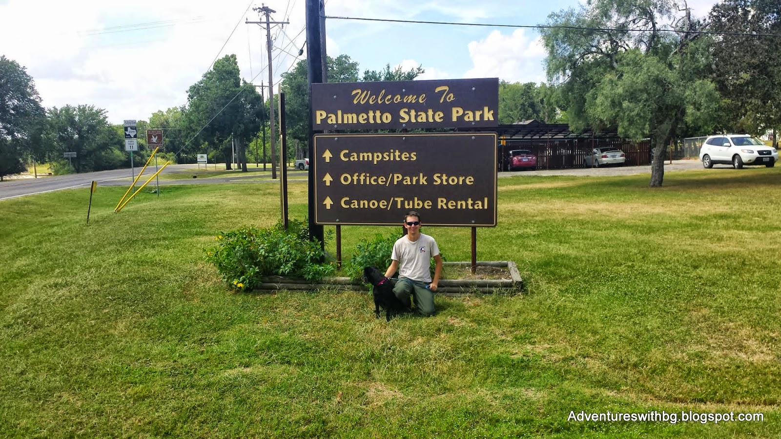 at Palmetto State Park entrance sign