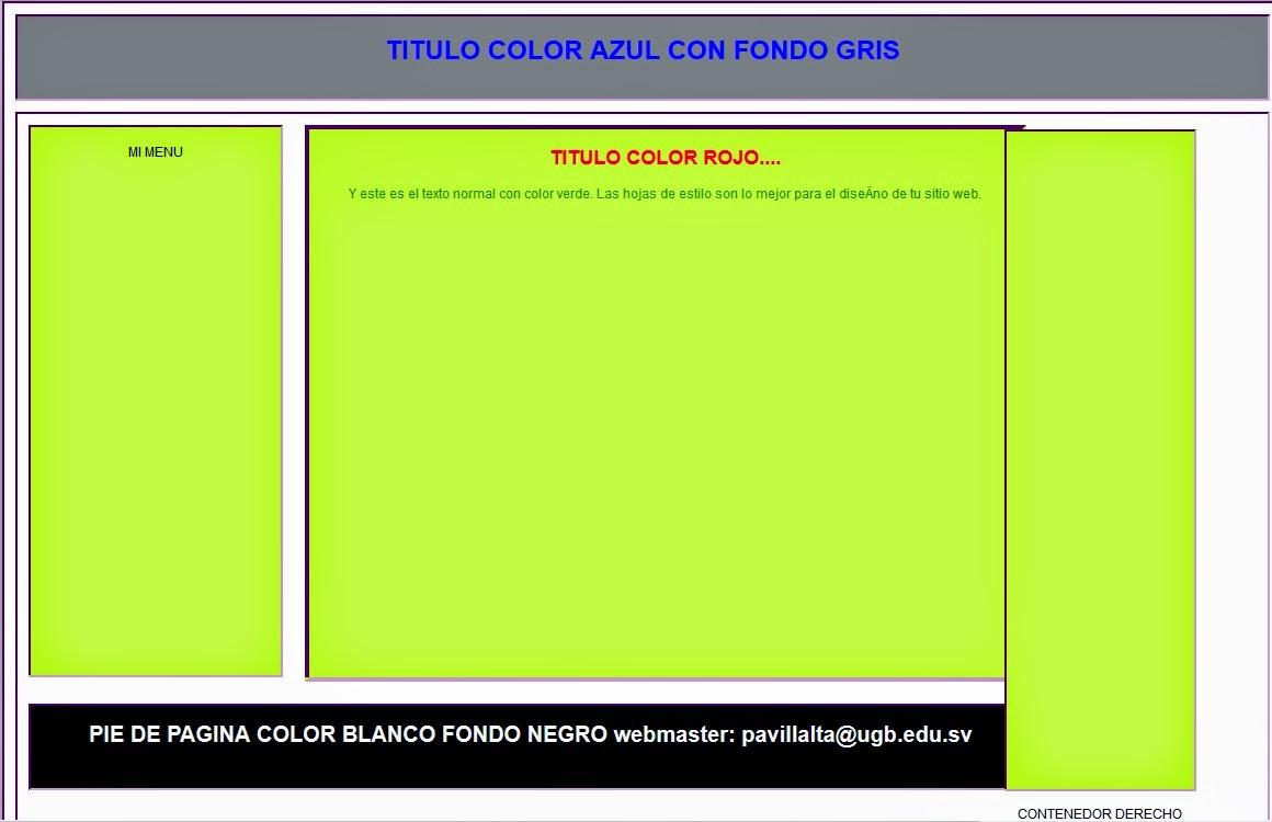 Ejemplo de Plantilla CSS (Ejemplo2) - Diseño y Desarrollo De Sitios ...