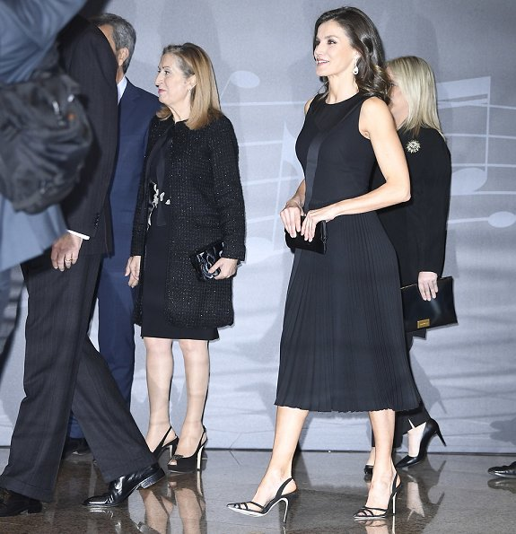 Queen Letizia wore Boss micro sleeveless plisse dress. Hugo Boss Dionia fit and flare dress