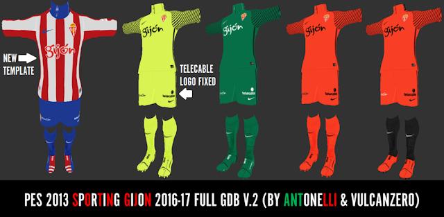 Sporting Gijon Full Kit 2016-2017 V.2 - PES 2013
