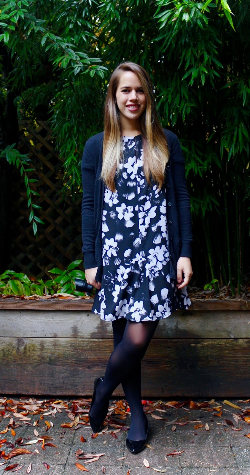 Jules in Flats - Ruffle Hem Floral Shift Dress (Business Casual Fall Workwear on a Budget)