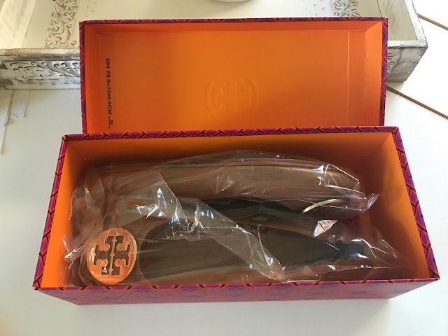 Tory Burch shoe box with Minnie Flats inside