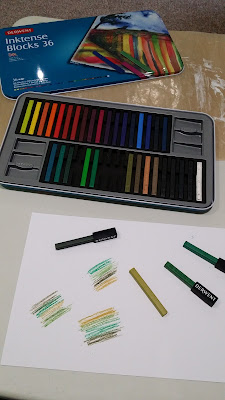 First day of using Derwent Inktense blocks with my Art Journalling course