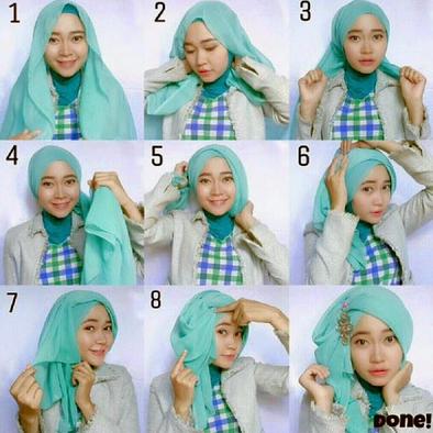 Kumpulan Cara Memakai Hijab Segi Empat Tumpuk Tutorial Hijab Terbaru