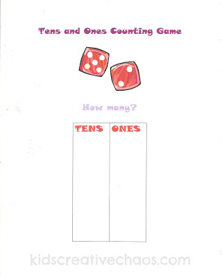 Math Activity Game Free Printable Chart Tens and Ones