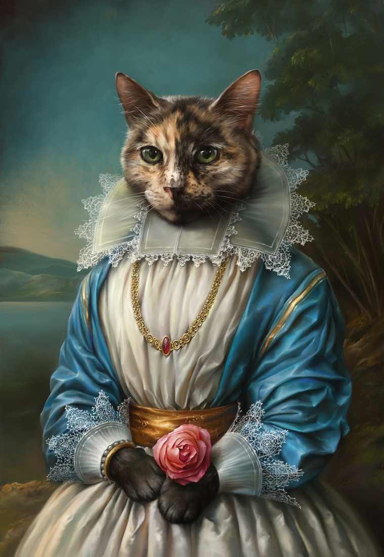 01-Samantha-the-cat-Eldar-Zakirov-Digital-Art-Illustrations-of-Smartly-Dressed-Cats-www-designstack-co
