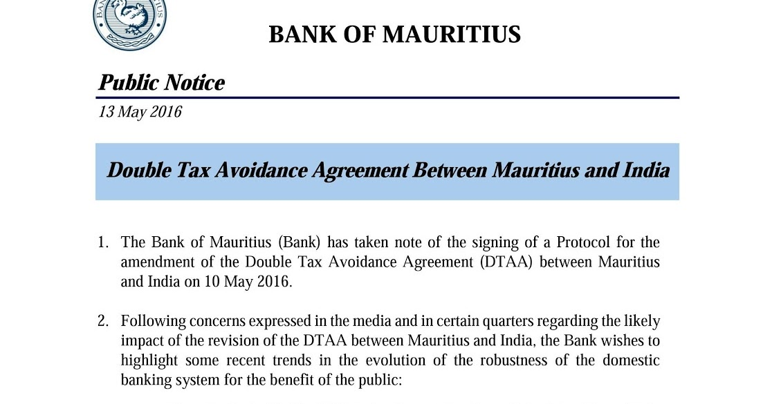 Amar Bank Of Mauritius Double Tax Avoidance Agreement Between