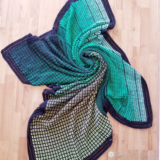 Window to the Whirl Blanket (free crochet pattern) using Scheepjes Whirl. Designed by Susan Carlson of Felted Button.