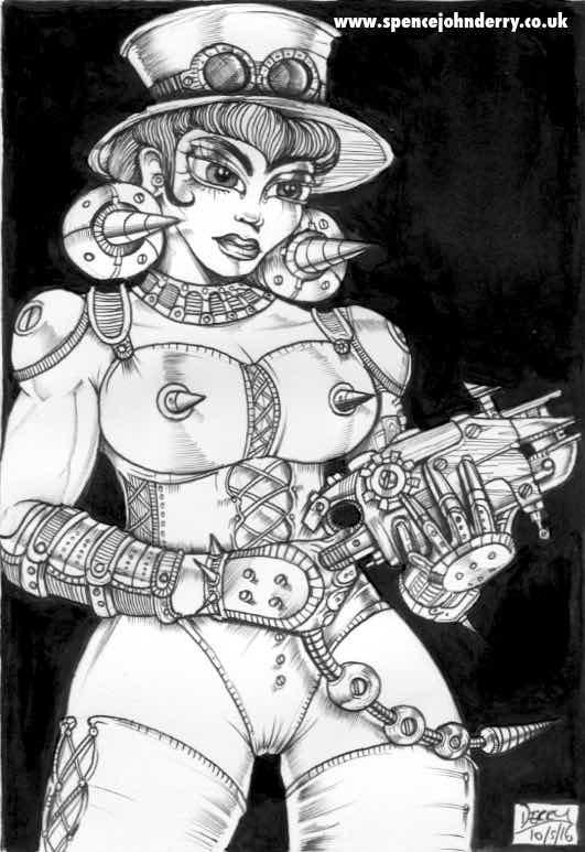 Steampunk Girl • Hand Drawn Original Fetish Art Ink drawing Spencer John Derry artist