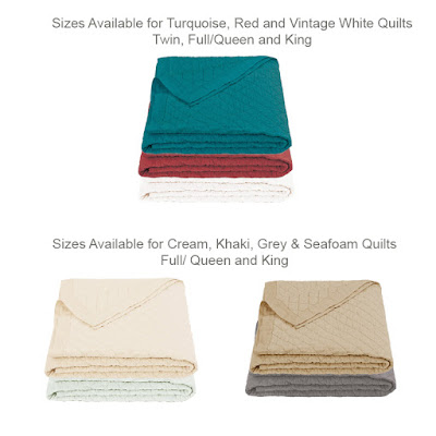 Diamond pattern linen quilt sizes, Twin, Full Queen and King, Colors: Grey, Turquoise, Red, Cream, Khaki, Vintage White and Seafoam