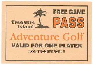 A FREE GAME PASS from Treasure Island Adventure Golf in Southsea