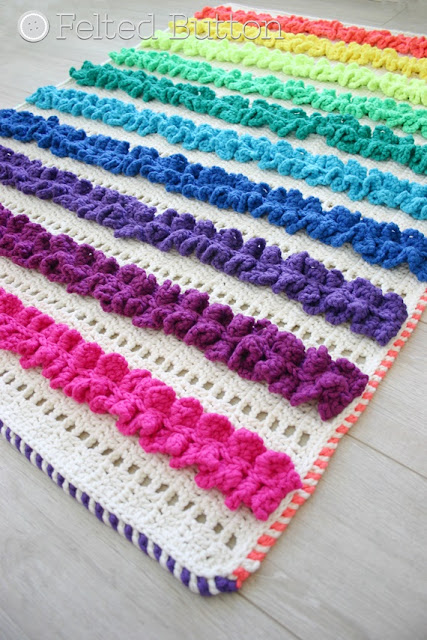 Ruffled Ribbons Throw Crochet Pattern by Susan Carlson of Felted Button