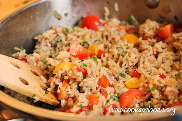Savory Pork and Vegetable Rice: Single Skillet Weeknight Meal or Sophisticated Side Dish