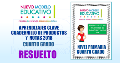 APRENDIZAJES CLAVE CUADERNILLO DE PRODUCTOS Y  NOTAS 2018 RESUELTO CUARTO GRADO