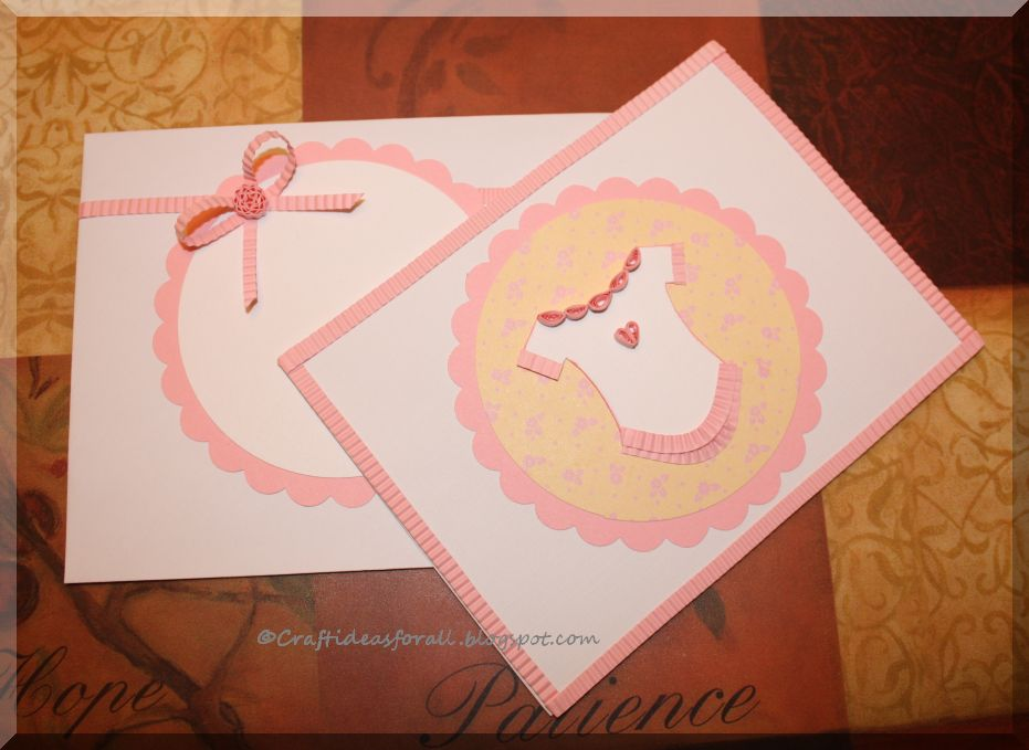 Baby Shower Greeting Card With Paper Quilling
