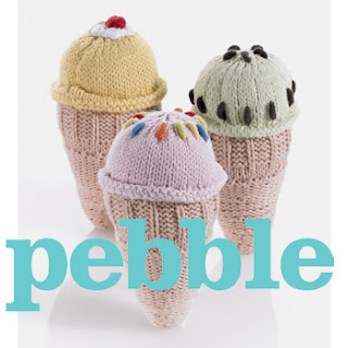 Pebble child handknitted rattles