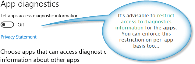 Settings for restricting apps from accessing diagnostics info