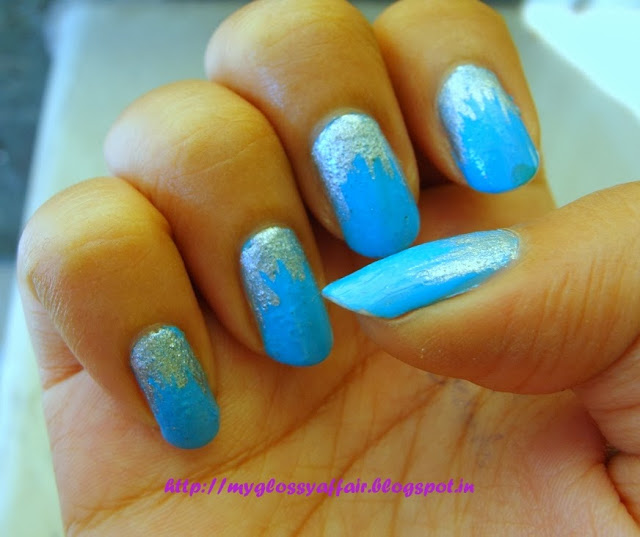 Silver and blue nail art