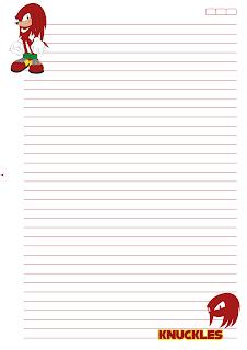 Folha Papel Pautado universitario knuckles PDF para imprimir A4