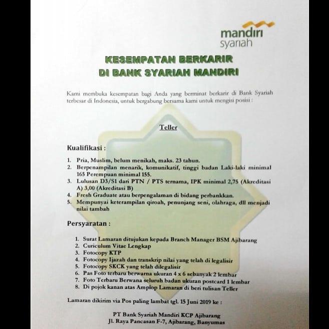 Lowongan Kerja Lowongan Kerja Teller Bank Syariah Mandiri Kcp Ajibarang