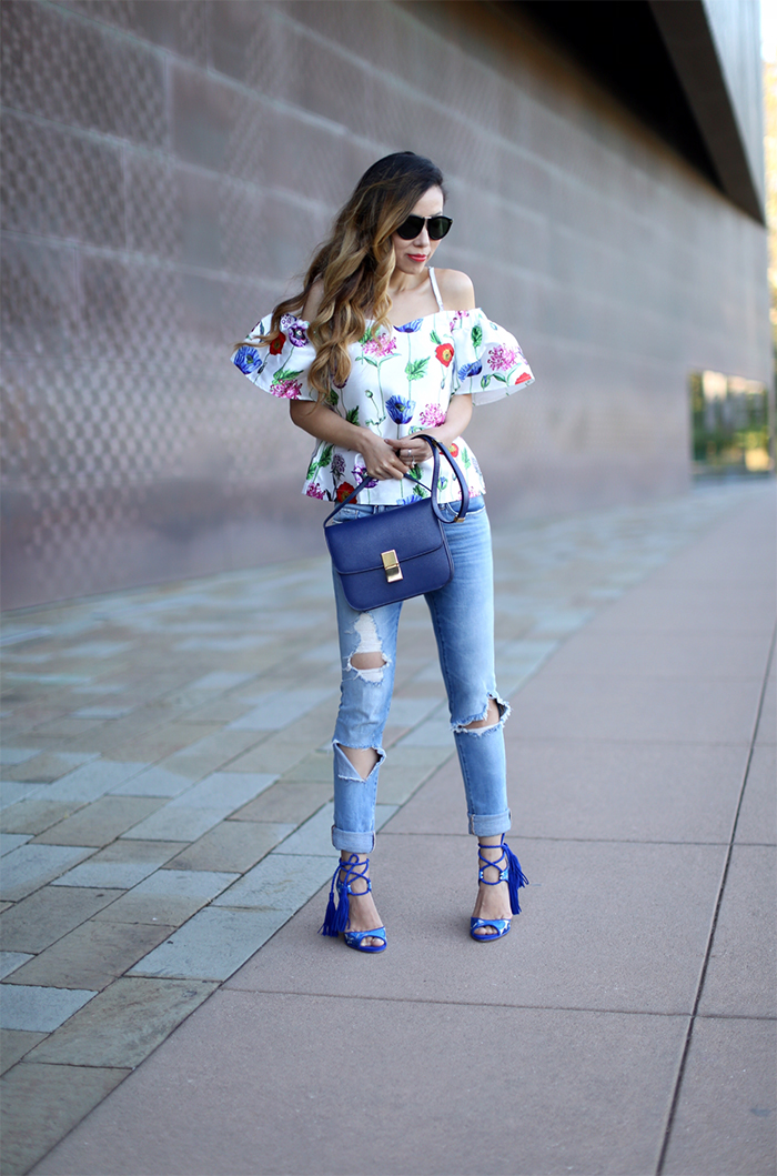 renamed floral off shoulder top, blank denim ripped jeans, paul andrew tassel sandals, karen walker harvest sunglasses, celine classic box bag, date night outfit, romantic outfit attire