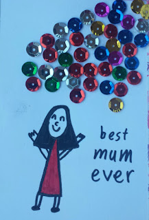 Child's Drawing Of Her Mum With The Words, Best Mum Ever, And Sequins As Clouds