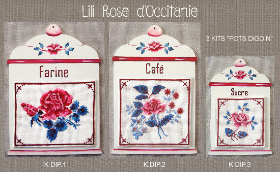 """Kits: 3 supports """"Pot Digoin"""" bois peint, de différentes taille + grille """"Digoin"""" assortie. Broderie et point de croix"""