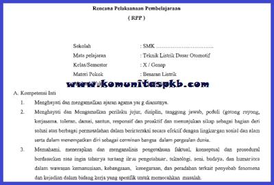 RPP Otomotif SMK MAK Kelas X K-2013 Revisi 2018