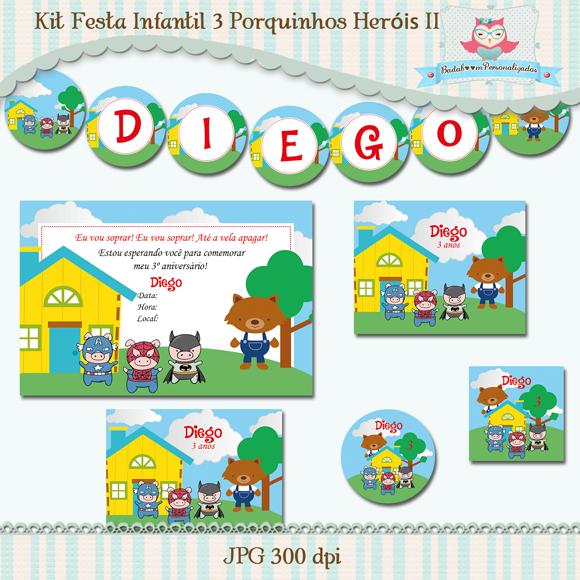 kit de artes digitais para festa infantil 3 porquinhos heróis