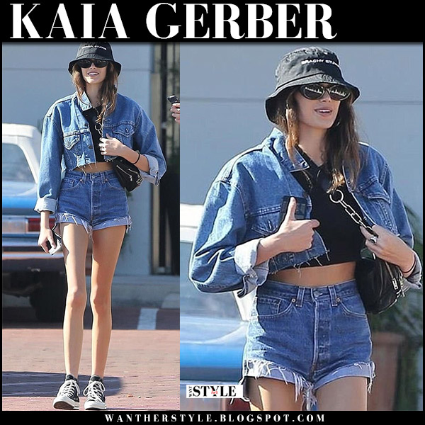 Kaia Gerber in denim jacket, denim shorts re/done with black hat model street style november 24