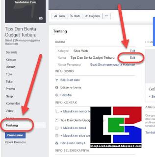 cara mengubah nama fanspage facebook terbaru