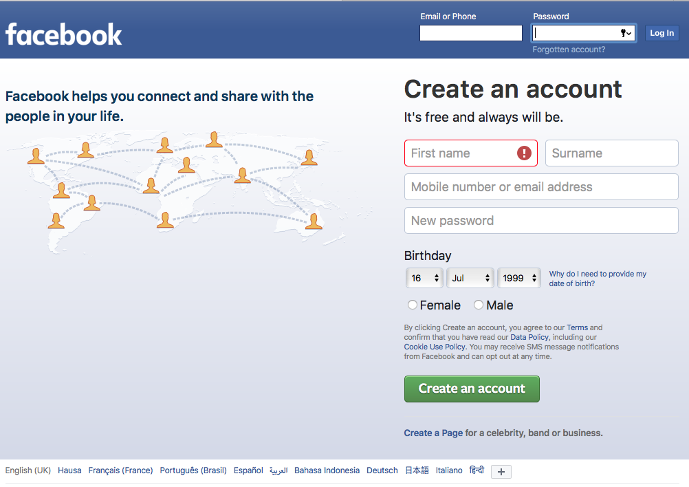 How To Open and Create New Facebook Account ~ W3FX