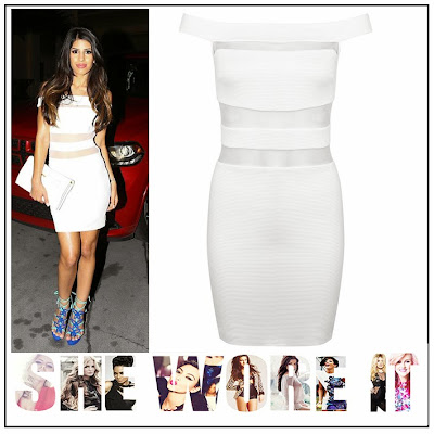 Bodycon, Bright, Celebrity Fashion, Celebrity Style, Contrast, Dress, Jasmin Walia, Mesh, Miss Selfridge, Off Shoulder, Panels, Sheer, Sleeveless, The Only Way Is Essex, TOWIE, White,