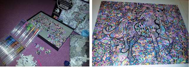 my colour-it yourself jigsaw in progress and the finished product
