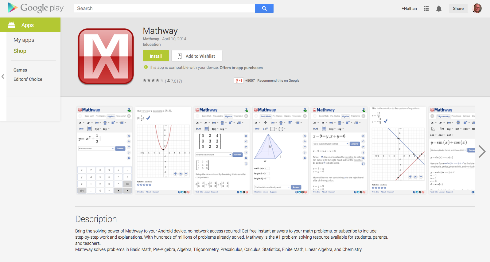 android app mathway teacherlink blog  mathway solves problems in basic math pre algebra algebra trigonometry precalculus calculus statistics finite math linear algebra and chemistry