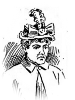 Old newspaper sketch of a middle-aged turn-of-the-century woman wearing a hat with a large bow and feather on the front