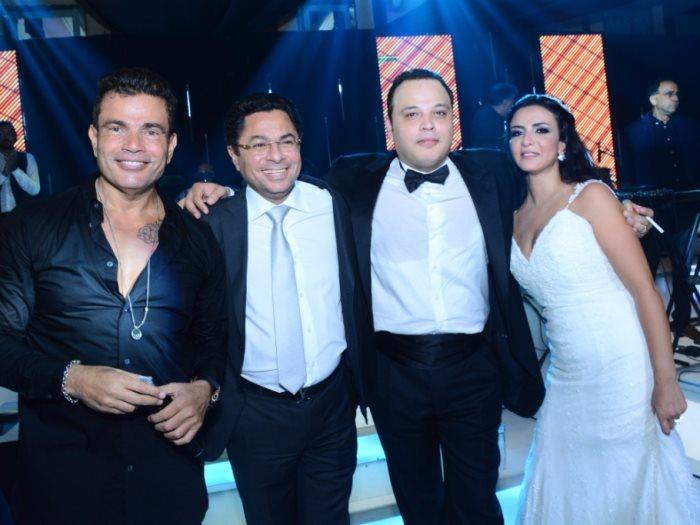 صور.. تامر عبد المنعم يحتفل بزفافه على أمنية الطوخى فى حضور عمرو دياب