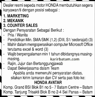 Lowongan Kerja Dealer Honda Avatar