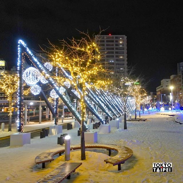 【函館駅前廣場Illumination】山與海的結合 車站前華麗燈泡點綴出冰雪燈節